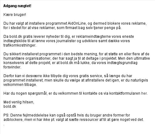 Bold.dk vil ønske ikke at deres reklamer bliver fjenet og erstattet af andre