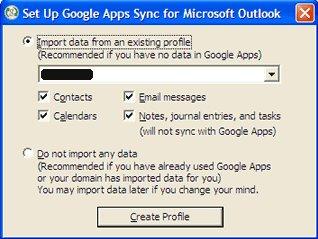 Med Google Apps Sync kan man importere eller synkronisere kontakter, emails og kalendere